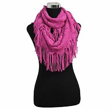 NEW WOMEN FASHION WINTER FRINGE TASSEL NECK KNIT CABLE INFINITY COWL SCARF