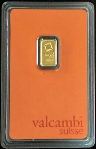 VALCAMBI SUISSE GOLD 1 GRAM 999.9 FINE BAR CHI ESSAYEUR FONDEUR IN COA CARD
