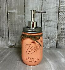 Painted Mason Jar Soap / Lotion Dispenser - Stainless Steel Pump - Rustic Coral