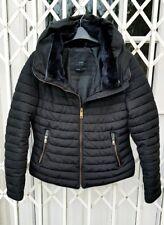 ZARA FUR COLLAR BLACK ANORAK JACKET COAT SIZE S 8 10 POPULAR STYLE