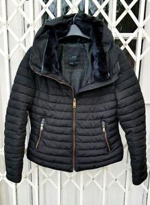 ZARA FUR COLLAR BLACK ANORAK JACKET COAT SIZE S 8 10 POPULAR STYLE FABx