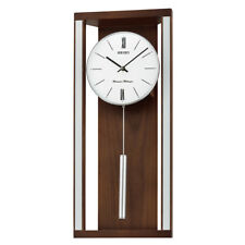 Seiko Dual Chimes Wooden Wall Clock with Pendulum White Face Roman Numerals