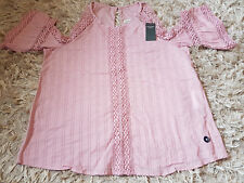New Women's Abercrombie & Fitch Lace Cold-Shoulder Top Size M pink RRP £58