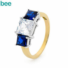 Solitaire with Accents Sapphire Yellow Gold Fine Rings