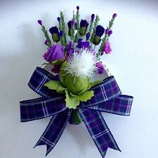 SCOTTISH WEDDING CORSAGE~DIAMANTE WRISTLET~HEATHER/THISTLES~TARTAN RIBBON