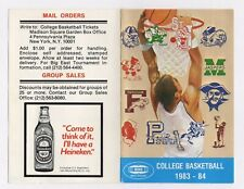 1983 - 84 MADISON SQUARE GARDEN COLLEGE BASKETBALL POCKET SCHEDULE Heineken