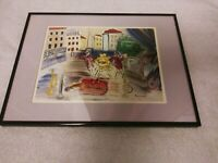 """Raoul Dufy Lithograph Painting 8"""" × 11"""" Print French Street Scene Harlequins..."""