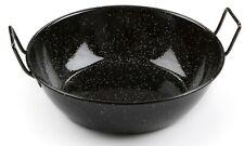 Deep Flat Bottom Enamel Paella Pan / Wok 2 Handles. Induction & Oven Safe 24cm