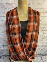 Vince Camuto Women's Sleeveless Sheer Blouse Navy/Orange sz Small Wrap Look