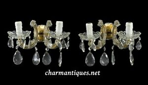 Italian Pair of Vintage Double Wall Sconces Glass Drop Murano