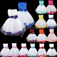 Petals Girl Kid Princess Wedding Bridesmaid Party Pageant Flower Bow Tulle Dress