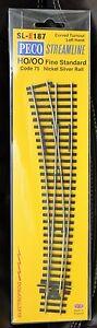 HO Scale - PECO STREAMLINE SL-E187 ELECTROFROG Code 75 Left Hand Curved Turnout