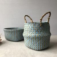 FJ- Simple Handmade Wicker Seagrass Clothes Storage Basket Bag Flower Holder Pot