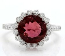 3.44 Carat Natural Tourmaline and Diamonds in 14K Solid White Gold Women Ring