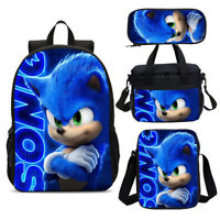 Sonic The Hedgehog Student Big Bookbag Backpack Insualted Lunch Bag Pen Case Lot