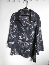 LAURA SCOTT PLUS SIZE 22W Blouse shirt top Polyester  GRAY FLORAL Career Wear