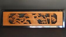 Japanese Hand Carved Wood Sculpture Ranma Transom Pine and Bamboo 131.5 cm