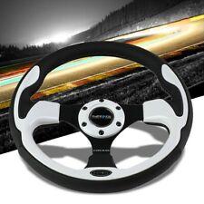 Black Leather/White Thumbrest 320mm RST-001WT NRG Steering Wheel+Horn Button