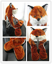 Novelty Fox Plush Hoodie Hat 3 in 1 Winter Scarf Pocket For Christmas Gift