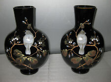 "ANTIQUE 19 c PAIR FRENCH ENAMEL VASES 10.3/4"" tall  ca. 1890"