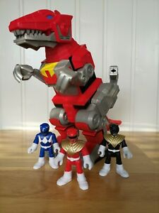 Imaginext Power Rangers T-Rex Zord Dinosaur With Red, Blue & Black figures