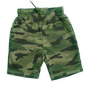 Boys Kids Camo Camouflage Sports Shorts Cotton Army Green Summer Gym PE