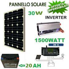 Kit pannello solare fotovoltaico 30W Regolatore 30A Batteria 20ah 12vl 0,5 kw gi