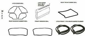 Mercedes Benz W123 Full Rubber Door Trunk Bumper Window Seals 14 PCS