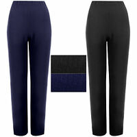 2 PACK WOMENS STRAIGHT LEG TROUSERS LADIES RIBBED STRETCH FINELY PANTS BOTTOMS