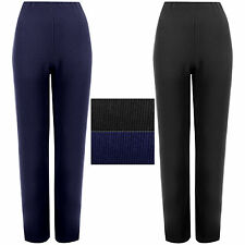 2 PACK WOMENS STRAIGHT LEG TROUSERS LADIES RIBBED STRETCH FINELY PANTS BOTTOMSaz