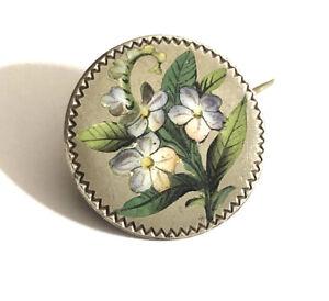 Art Deco Sterling Silver Enamel Flower Brooch ,925