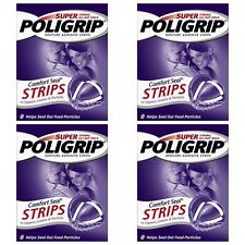 4x Super Poligrip Comfort Seal Denture Adhesive 40 STRIPS each pack