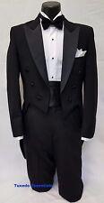 36 S Mens Black Tuxedo Wool Tailcoat Full Dress Formal Wedding Ball Costume Tux
