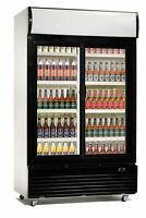 Getränkekühlschrank mit 2 Glastüren und Display, 800 Liter, Flaschenkühlschrank