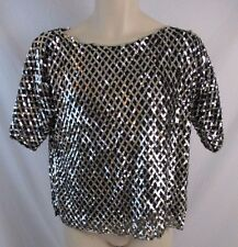 Swee Lo Black Womens M Black 100% Silk Silver Sequin Lined Blouse Shirt GG386