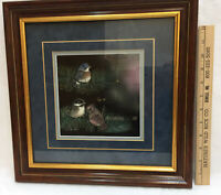 Scratchboard Art Etched Baby Birds Chickadee Blue Red Cardinal Signed Wald Frame