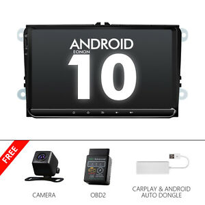 """CAM+OBD+CarPlay+For VW Golf Jetta Android 10 9"""" Car GPS Tracking Devices Stereo"""