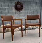 Set Of 2 Mid Century Danish Modern   Teakwood Dining Accent Arm Chairs