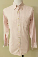 Peter Millar Nanoluxe Long Sleeve Button Down Shirt Pink Check Men's Large Large