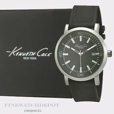 Authentic Kenneth Cole Black Silicone Strap Watch 10020835