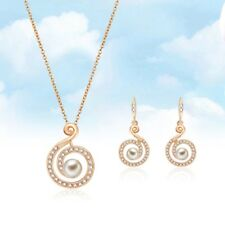Stainless Steel Gold Color Necklace Earring Jewelry Sets For Women Round  Women