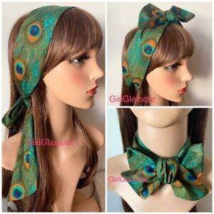 Peacock Feather Headband Bandana Hairband Hair Tie Band Scarf 🧣costume DRESS