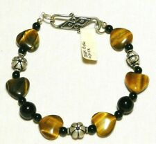 "TIGER EYE AND OBSIDIAN BRACELET GENUINE STERLING SILVER  ""NEW"" AUZ MADE"