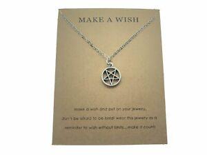 Pentagram Mini Wish Charm Silver Pendant Gothic Necklace Witch