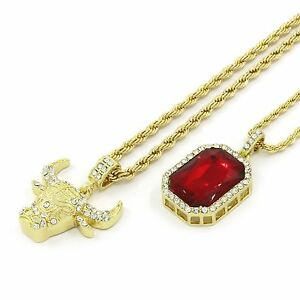 """Mens 14k Gold Plated Small Bull & Red Ruby w Rope Chain (3mm 24"""" & 4mm 30"""")"""