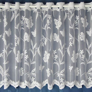Meadow Butterfly & Floral White Cheap Lace Cafe Net Curtain - SOLD BY THE METRE
