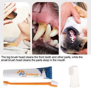 Dog Dental Kit Toothpaste & 2-Head/Finger Toothbrush Set For Oral Care Nursing