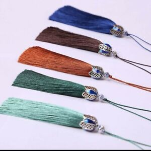 """Colourful Tassels x 2 with Silver detailing Tassel 3 1/2"""" 9cm **22 COLOURS***"""