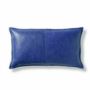 Cover Leather Pillow Cushion Case Lambskin Real Soft Blue Genuine 100% Cover