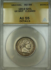 1819 Great Britain Silver Shilling Coin ANACS AU-55 Details Cleaned